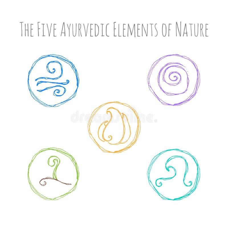Ayurvedic Elements Symbols Stock Vector Illustration Of
