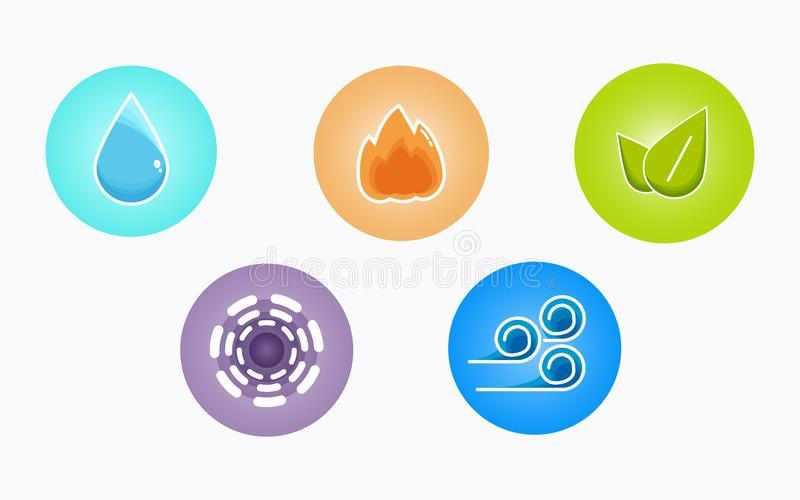 Ayurvedic elements water, fire, air, earth and ether icons isolated on white background. Colorful icons, five elements stock illustration