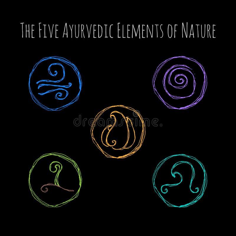Ayurvedic-Elementsymbole stock abbildung