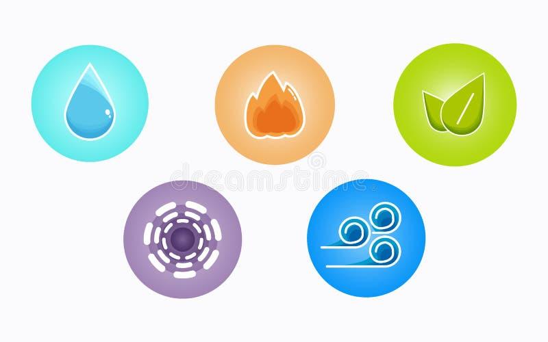 Ayurvedic elementy nawadniają, podpalają, wietrzą, ziemi i eteru ikony odizolowywać na białym tle, Kolorowe ikony, pięć elementów ilustracji