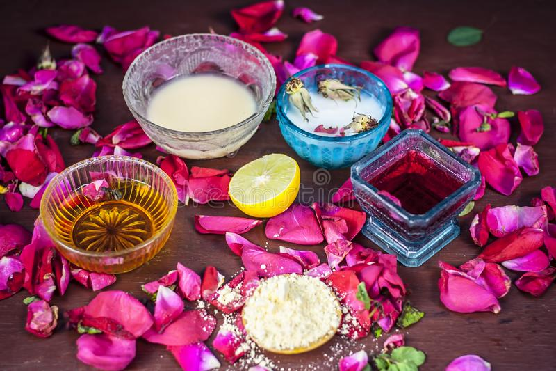 Ayurvedic herbal facial or face pack`s ingredients i.e. Rose syrup,rose petals,honey,lemon,lemon and gram flour.This face pack imp stock image