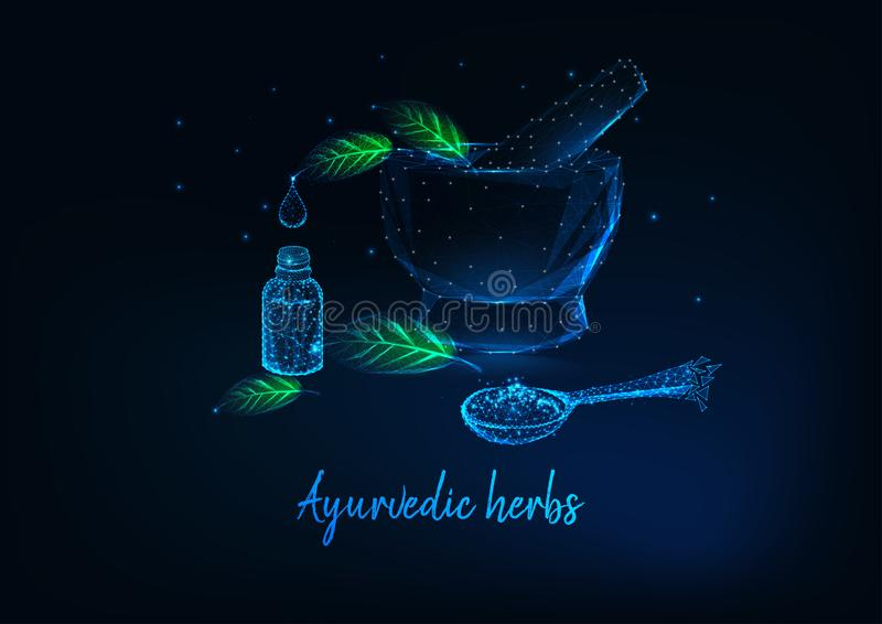 Ayurvedic herbs concept with mortar, leaves, essential oil bottle and spoon with spices. vector illustration