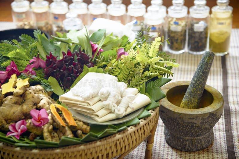 Indian Ayurvedic medicine, herbs and roots. Herbal Bag Massage. Ayurvedic indian medicine, herbs and roots. Herbal Bag Massage stock images