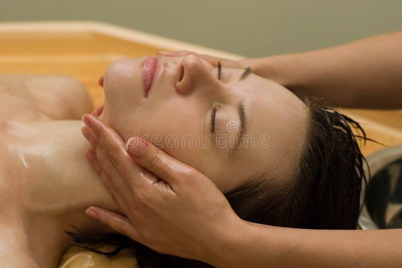 Ayurvedic massage stock photo