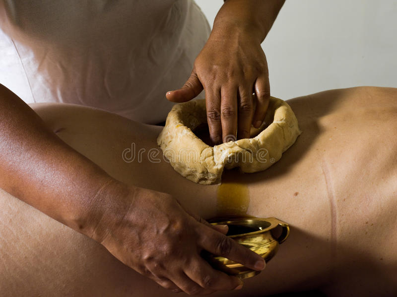 Ayurvedic massage care. From tradional medecine from kerala india royalty free stock photos