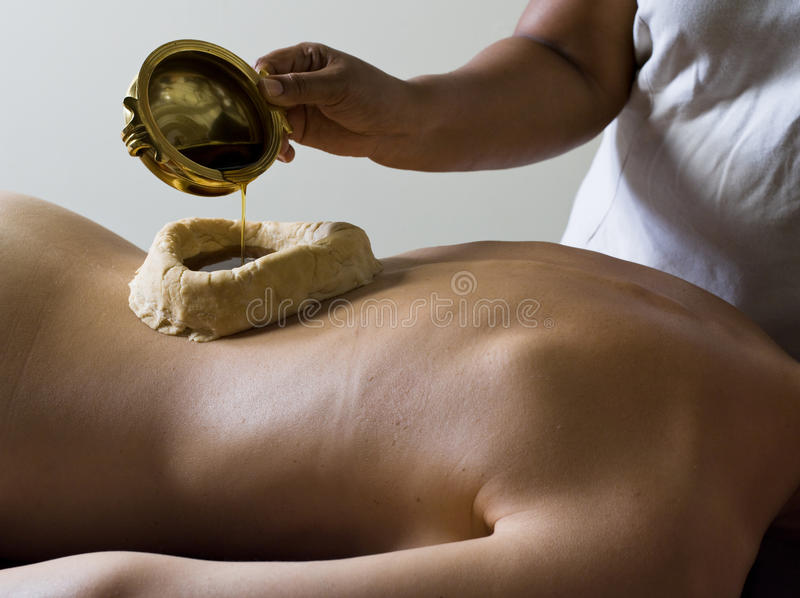 Ayurvedic massage care. From tradional medecine from kerala india stock images