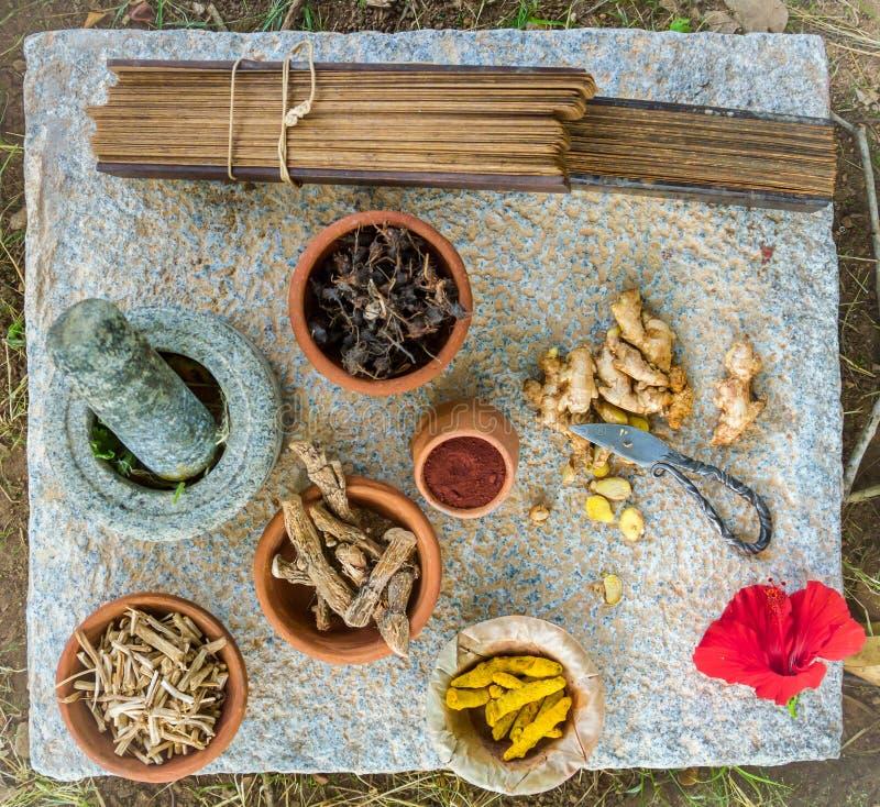 Ayurvedic Medicine. Alternative ayurvedic herbs and palm leaf scrolls arranged on a granite slab stock photos