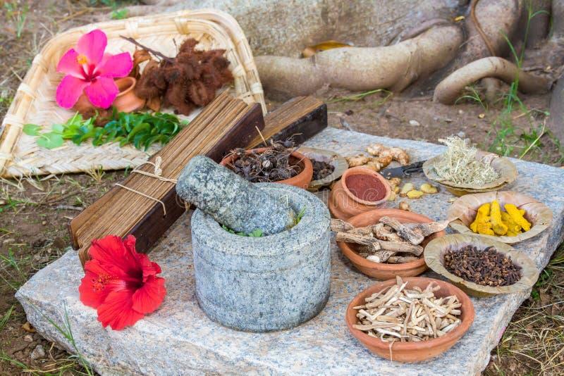 Ayurvedic Medicine. Alternative ayurvedic herbs and palm leaf scrolls arranged on a granite slab royalty free stock photography