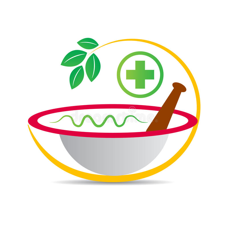 Ayurvedic mortel stock illustrationer