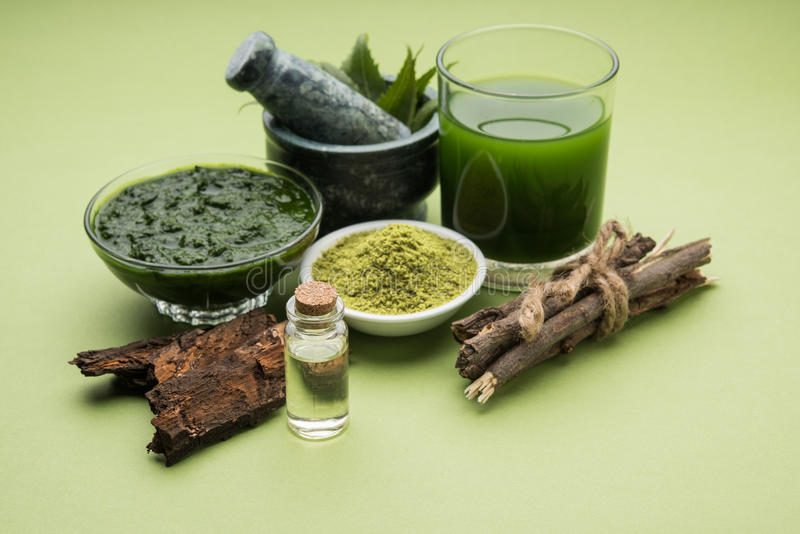 Ayurvedic neem products like paste, powder, oil, juice, tooth care. Medicinal Ayurvedic Azadirachta indica or Neem leaves in mortar and pestle with neem paste stock images