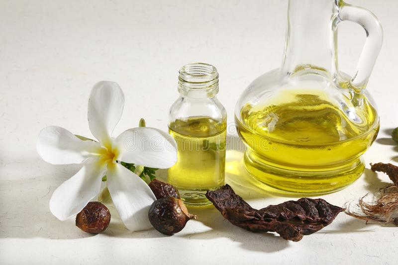 Ayurvedic Oil in Glass Bottle or Herbal Hair Oil with Herbs.  stock photo