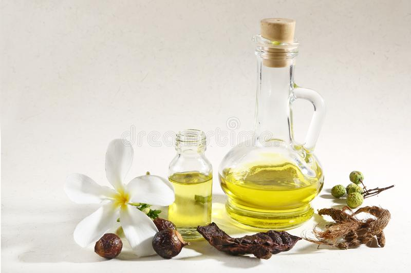 Ayurvedic Oil in Glass Bottle or Herbal Hair Oil with Herbs.  stock photos