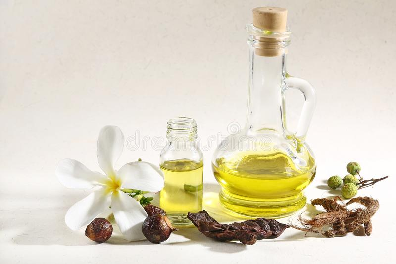 Ayurvedic Oil in Glass Bottle or Herbal Hair Oil with Herbs.  royalty free stock image