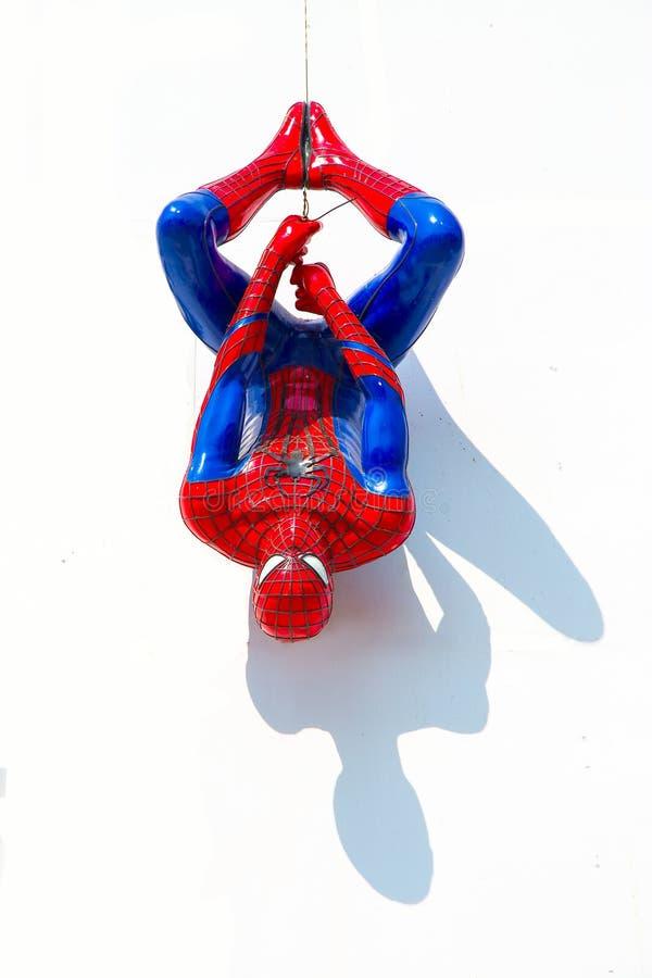 Ayuttaya, Thailand - December 30, 2014 : Spider-Man model upside royalty free stock photography