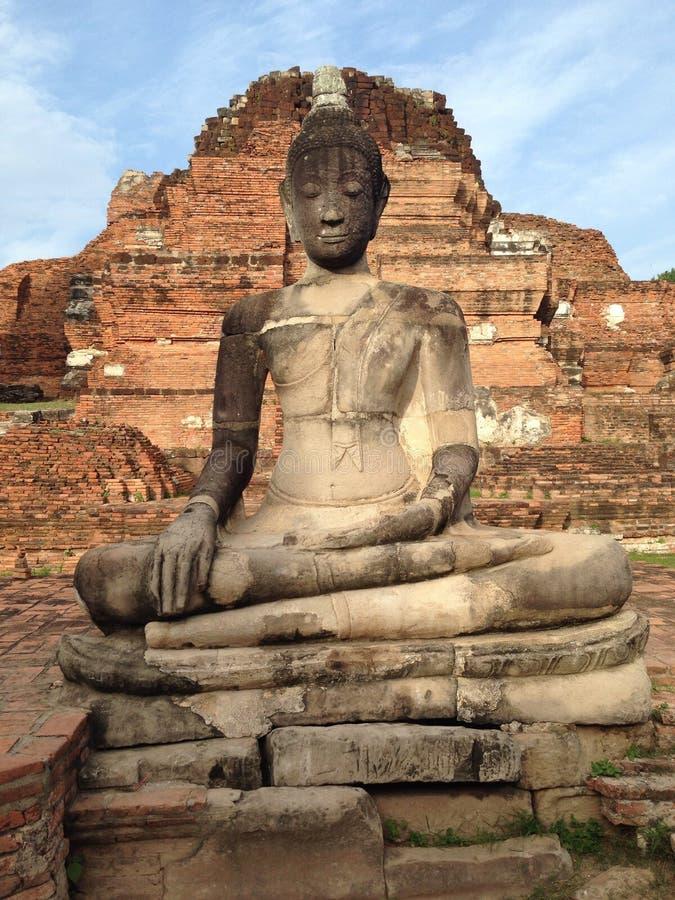ayutthaya菩萨雕象 库存照片