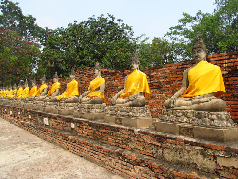 Ayutthaya ancient city ruins in Thailand, Buddha statues royalty free stock photos