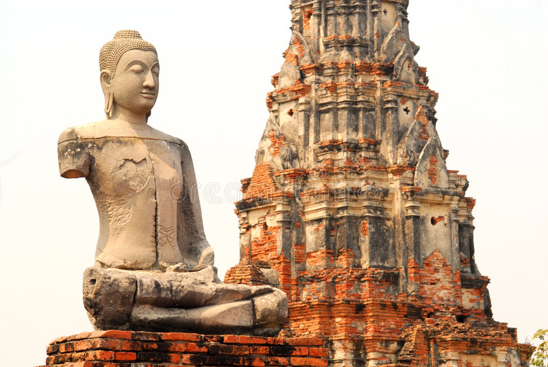 Download Ayutthaya Buddha And Temple, Isolated Stock Photo - Image: 2019098
