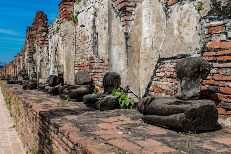 Ayutthaya Dziejowe Parkowe antyczne ruiny wat fotografia stock