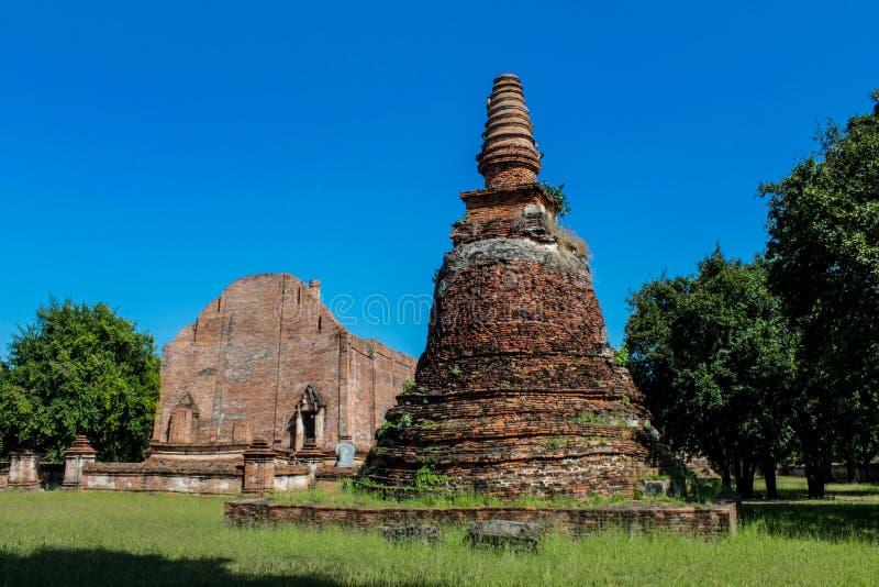 Ayutthaya Dziejowe Parkowe antyczne ruiny wat zdjęcie royalty free