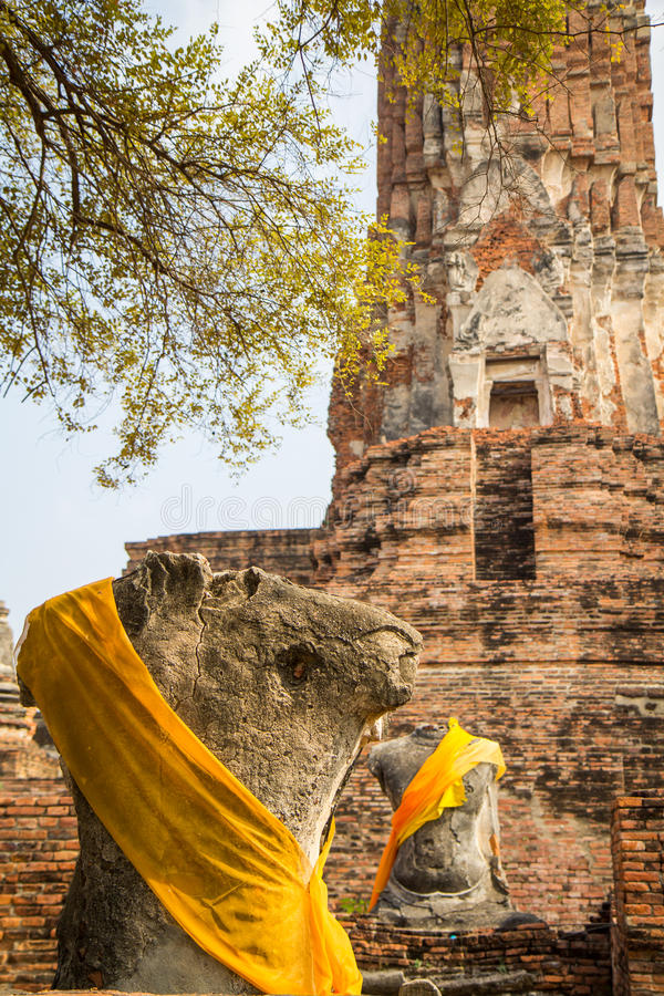Ayutthaya historical park Buddha statues without head and old Brick stock images