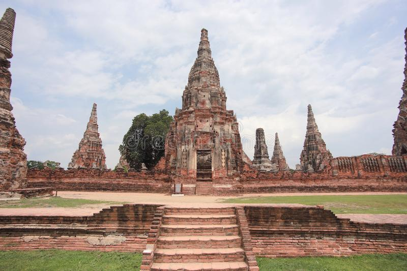 Ayutthaya historical park. The Ayutthaya Historical Park covers the ruins of the old city of Ayutthaya, Thailand. The city of Ayutthaya was founded by King royalty free stock photo