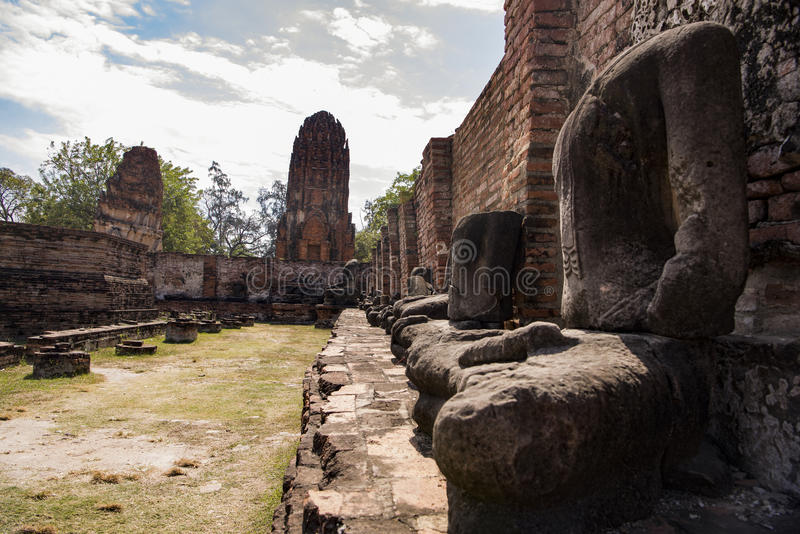 Ayutthaya Ruins with Defaced Statues royalty free stock photography