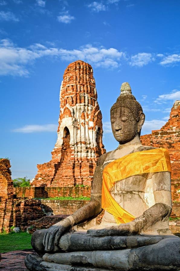 Ayutthaya (Tailândia), estátua da Buda fotografia de stock royalty free