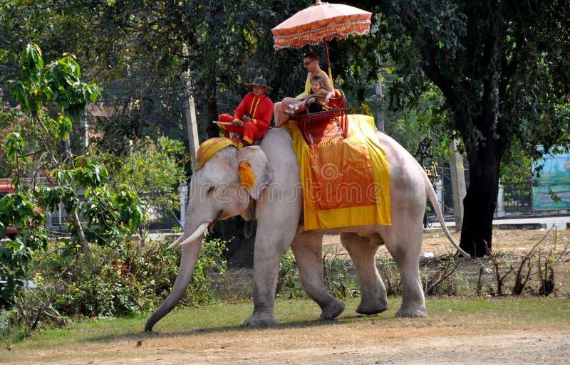 Ayutthaya, Tailândia: Povos que montam um elefante fotografia de stock