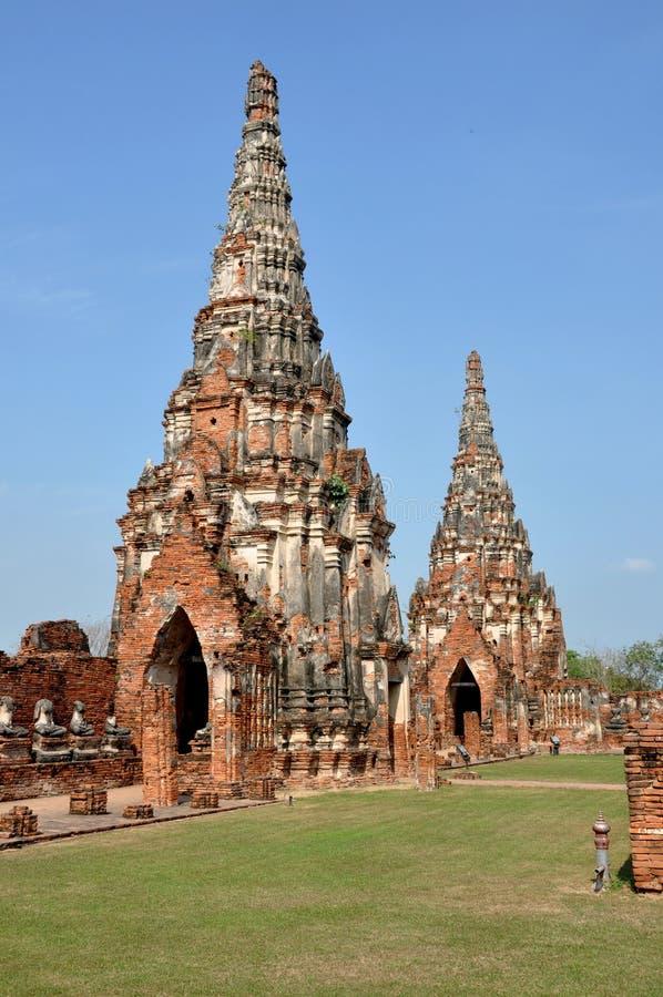 Ayutthaya, Tailândia: Wat Chai Watthanaram fotografia de stock