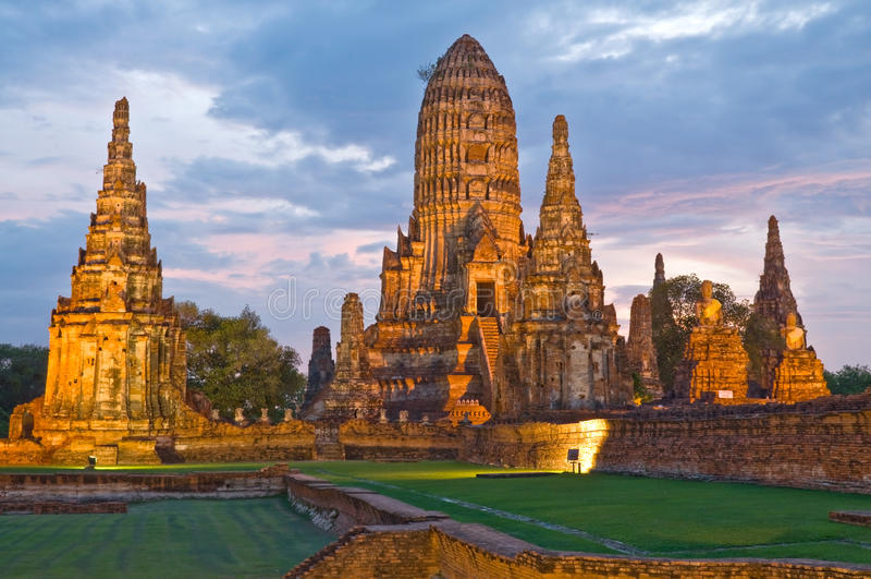 Ayutthaya, Tailândia: Wat Chai Watthanaram fotografia de stock royalty free