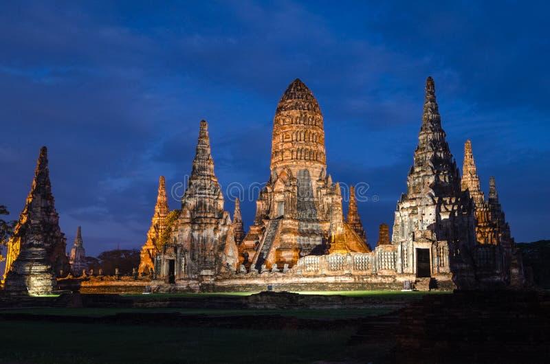 Ayutthaya Tailandia Wat Chaiwatthanaram immagini stock libere da diritti