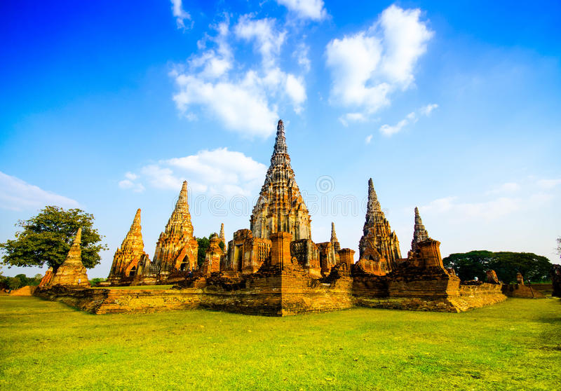 Ayutthaya temple and historic site in thailand stock image