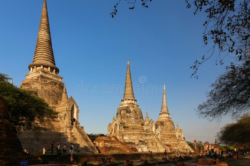 Ayutthaya,Thailand-April 20,2018: Tourists come to visit ancient sites at Wat Phra Si Sanphet temple in ayutthaya historical park, royalty free stock images