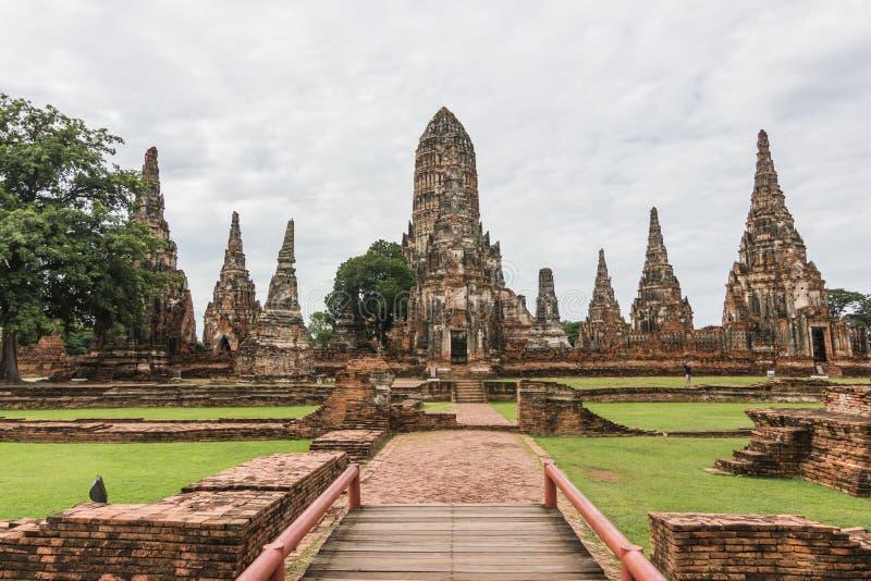 Ayutthaya Thailand: Chaiwatthanaram är en buddistisk tempel i den historiska staden av Ayutthaya parkerar, är en gränsmärke av Th royaltyfria foton