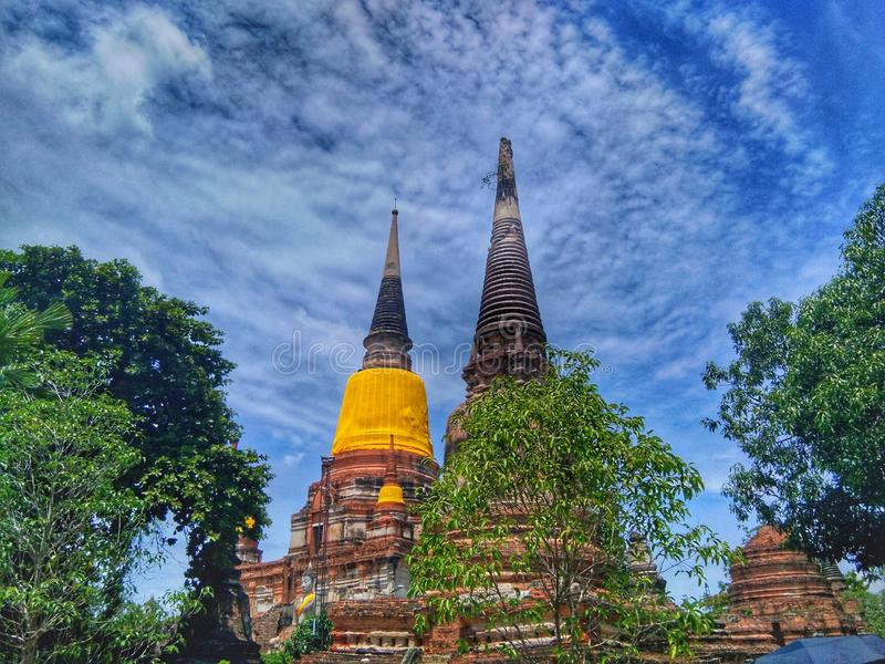 Ayutthaya of Thailand History of Thai people Historical city. Ancient, old, culture, landmark, temple, sky, cloud, travel, tour, asia, buddha, wisdom stock image