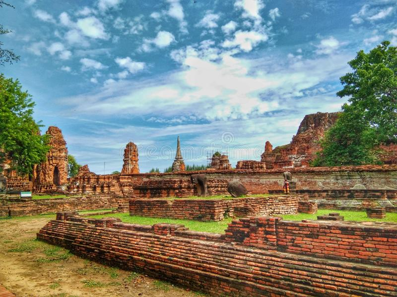 Ayutthaya of Thailand History of Thai people Historical city. Ancient, old, culture, landmark, temple, sky, cloud, travel, tour, asia, buddha, wisdom royalty free stock photography