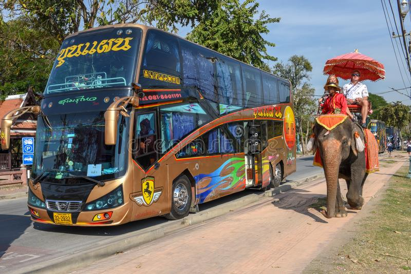 Tourists on an elephant in front of a modern bus stock photo
