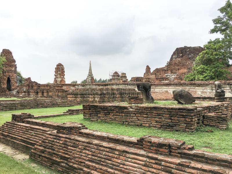Ayutthaya,thailand-June08 2019:Wat Mahathat temple.it was built in1374 in the early ayutthaya period. royalty free stock photography