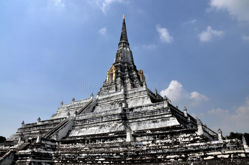 Ayutthaya, Thailand: Wat Phu Khao Thong. Wat Phu Khao Thong, the Golden Mountain (built c. 1387-1569) with its immense four-sided pyramidal base and soaring royalty free stock image