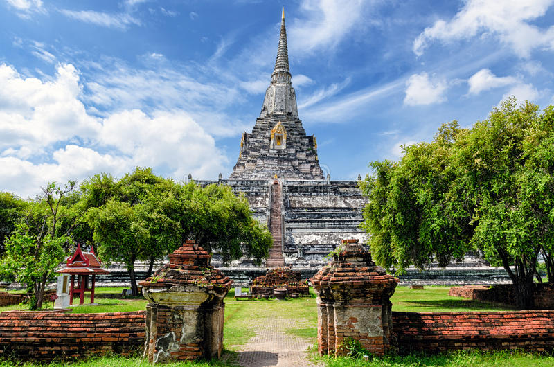 Ayutthaya (Thailand) Wat Phu Khao Thong. Old temple royalty free stock photography