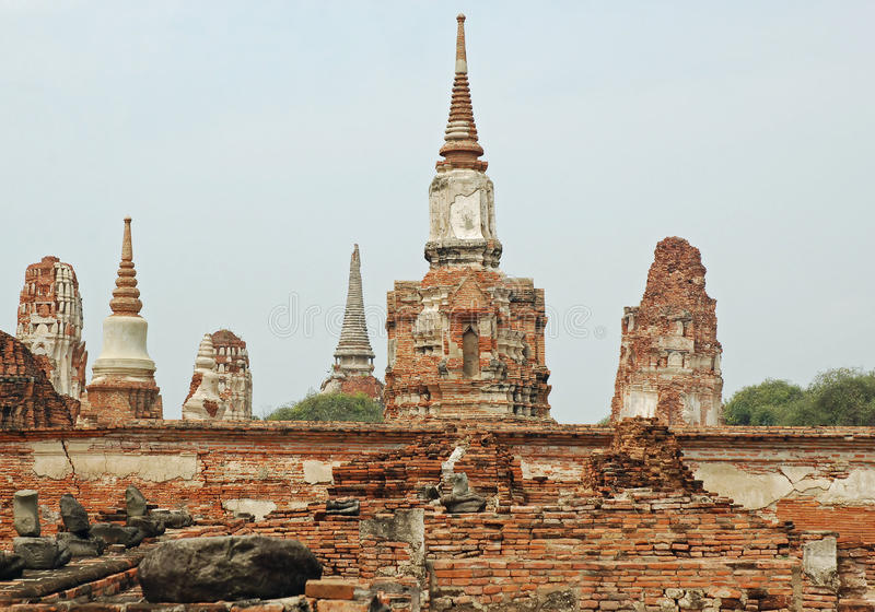 Ayutthaya - Wat Phra Sri Sanphet - Thailand. Ayutthaya - Thailand - Ancient temple (called wat) Wat Phra Sri Sanphet. This royal temple, built in 1448 and royalty free stock photo