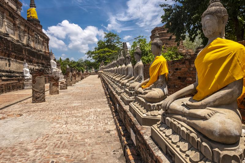 Ayutthaya - Wat Yai Chai Mongchon fotografia stock