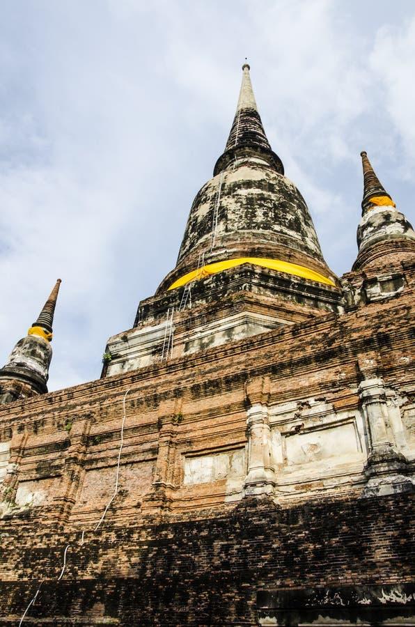 Ayutthaya Wat Yai Chai Mongkol. arkivbild