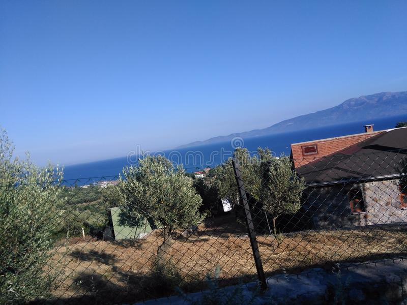 Ayvacik, midilli wyspy morza egejskiego teren Turcja, lato 2019 fotografia stock