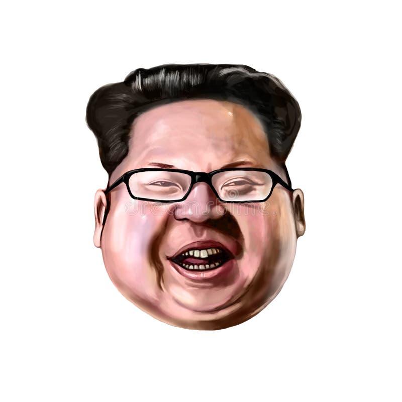 Ayvalik, Turkey - December 2017: Kim Jong-un cartoon portrait. stock illustration