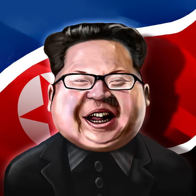 Ayvalik, Turkey - December 2017: Kim Jong-un cartoon portrait wi. Th flag, illustrated in Ayvalik, Turkey by Erkan Atay on December 2017
