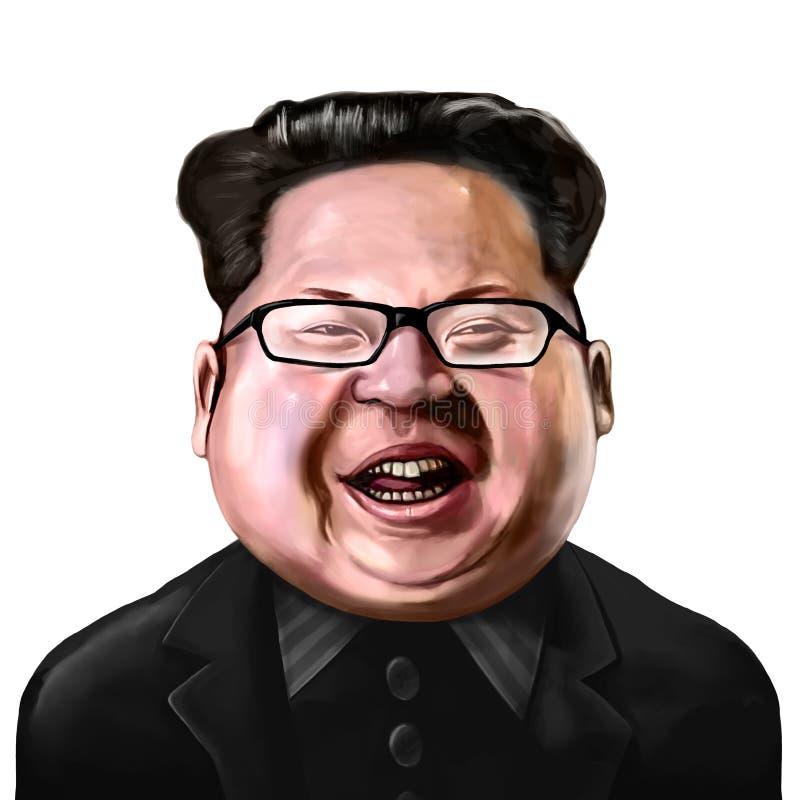 Ayvalik, Turquia - em dezembro de 2017: Retrato dos desenhos animados do Jong-un de Kim, i