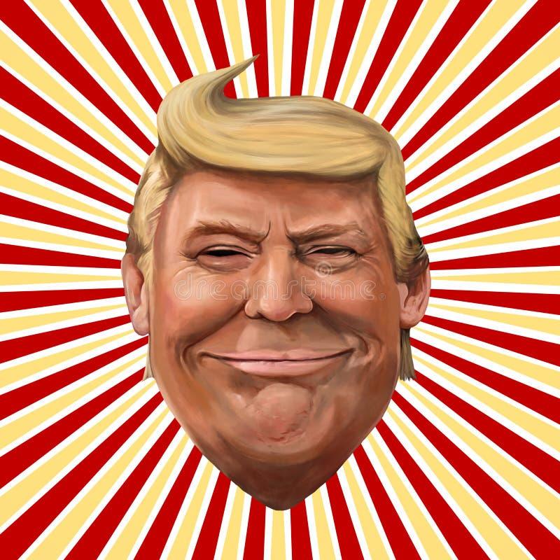 Ayvalik, Turquia - em dezembro de 2017: Retrato dos desenhos animados de Donald Trump, ilustração stock