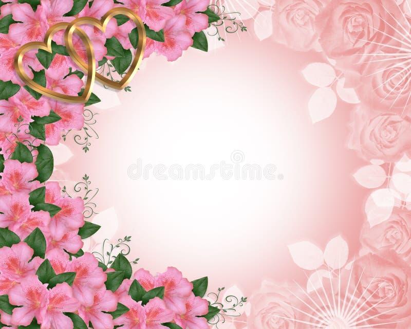 Azáleas da cor-de-rosa da beira do convite do casamento ilustração royalty free