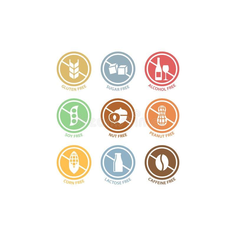 Azúcar, alcohol, sistema de etiqueta colorido libre del círculo del cacahuete Ingredientes alimentarios lactosa, sello libre de l ilustración del vector